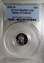 1999 W PR69DCAM SOL PCGS $10 Platinum