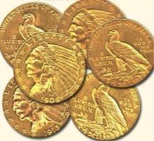 Random Date $ 2.5 Indian Gold Coin- VG-AU (1coin)
