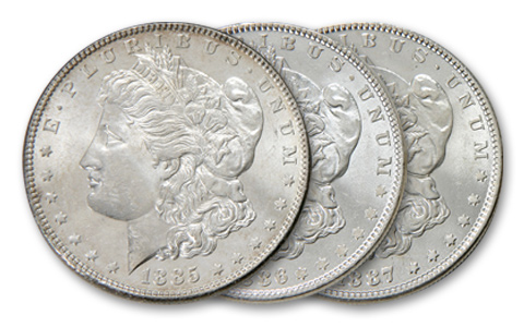 (3) Comstock Lode Morgan Dollars