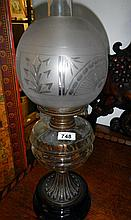Oil lamp with clear-glass vessel (approx. height 22 1/2'' 57cm)