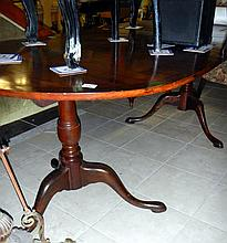 Two-pillar mahogany dining table with one leaf (approx. length inc. leaf 79'' / 200.75cm)