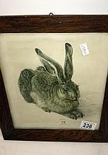 An engraving Study of a Rabbit after original by Albrecht Furer (1471-1528)