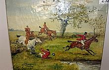 A oil on canvas of a Hunting Scene by R W Davies