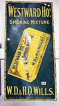 Enamel sign - 'Westward Ho' cigarettes (approx. 18 x 36'' / 46 x 91.5cm)