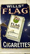 Enamel sign - Wills's Flag cigarettes (approx. 18 x 23 3/4'' / 46 x 60.5cm)