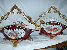 A pair of good handpainted porcelain fruit baskets