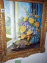Floral still life oil on canvas signed E.M. Staples, 1975 (approx. size including frame 21 x 25'' / 53.5 x 63.5cm)