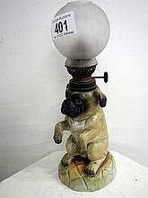 Porcelain dog lamp with globe (approx. 10 1/2'' / 26.75cm)