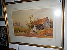 Two early 20th-century watercolours by Horace Hammond and signed J. Barclay - wife feeding chicks and girl feeding chickens