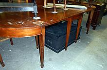 Dining table featuring a pair of D-end tables and a drop-leaf table - a/f (approx. overall length 105'' / 267cm)