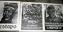 3 Nazis Germany propaganda posters including Gestapo and Waffen-SS (approx. 16 1/4 x 21 1/2'' / 41.5 x 54.5cm)