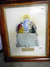 A Masonic certificate dated 1882