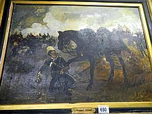 Victorian oil on canvas 'A Wounded Friend' signed but indistinct, dated 1891 (approx. size including frame 33 x 27'' / 84 x 68.5cm)