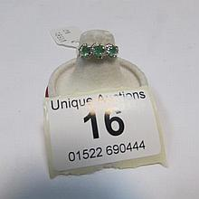 An emerald and diamond 3 ovals gold ring, size M