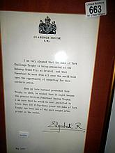 Framed and glazed letter from Queen Elizabeth, The Queen Mother, dated 1977 and signed