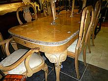 Birds Eye Maple extending dining table with 2 leaves and 6 chairs including 2 carvers