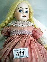 Porcelan headed doll - markings read 'M1 DEP de in Germany'