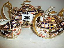 Royal Crown Derby 3-piece teaset consisting of teapot, milk jug and sugar bowl