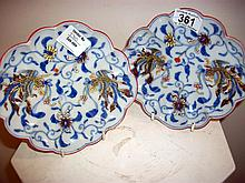 Pair of Chinese leaf dishes