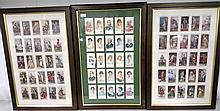 75 cigarette cards in three glazed frames