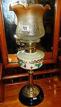 Oil lamp with painted vessel, brass column and marble base (approx. height 25'' / 63.5cm)