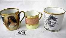 Hand-painted Austrian coffe can, Royal Worcester coffee can and a hand-painted Swans coffee can
