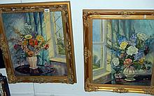 Pair of oil on canvas floral studies signed E.M. Staples, 1972