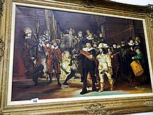 A large oil on canvas, slight damage depicting Cavalier Soldiers