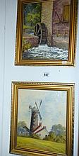 Two framed oil on boards 'Waterwheel' and 'Watermill' both signed Marjorie Burton
