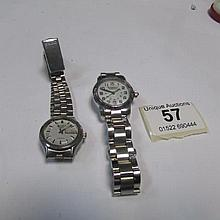 A Victorinox Swiss Army wrist watch with mother of pearl dial and a ladies automatic Seiko wrist watch, both in working order