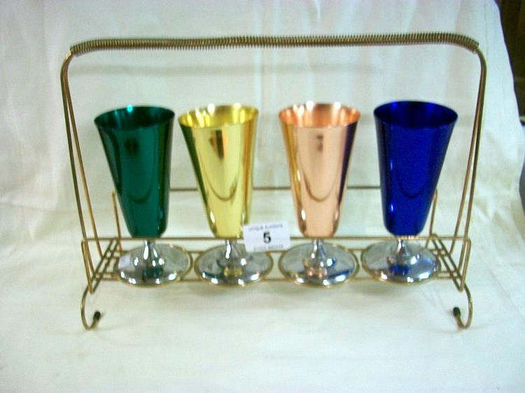 A Vintage set of 4 retro goblets on stand by
