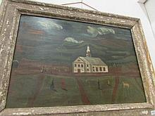 An oil on board of a village church