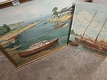 2 oil on board seascapes
