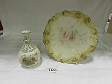 A Royal Worcester china works reticulated vase and a cabinet plate