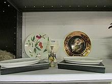 A Royal Worcester miniature Hadley rose vase, Royal Worcester goblet, 2 Minton dishes etc