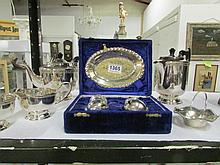 A mixed lot of silver plate including teapot