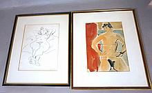 Two F. McCARTHY Drawings. 1). Watercolor Nude Wom