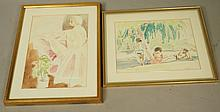 2pcs McCARTHY Pen and Watercolor Drawings. 1). Re