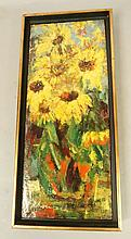Schoenbach Oil on board Painting Yellow Flowers.