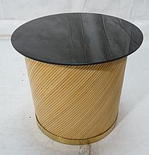 BIELECKY BROTHERS Rattan & Brass Drum Table. Roun