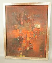 WALTER GRETSCHEL Oil on Board Painting. Abstract.