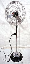 Vintage Air Castle Standing Floor Fan. Chrome & B