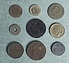 Lot (9) Mixed European Coins France, Germany, Denmark