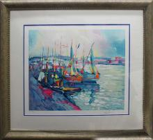 Simbari Limited Edition Lithograph Boats in the Harbour
