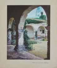 1937 lithograph Mission San Juan capistrano California