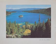 1937 lithograph Lake Tahoe California Nevada