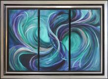 Abstract Tryptic Swirling Tides-Original Oil On Canvas