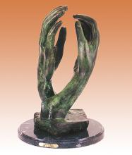Auguste Rodin Cathedral Praying Hands Bronze Sculpture