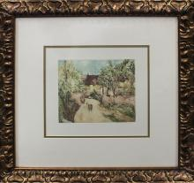 Cezanne-Hand Colored Etching Embossed-The Path