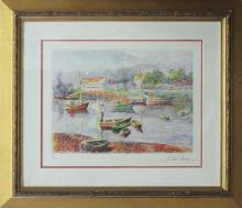 Pissaro Limited Edition Original Lithograph Boat Harbor